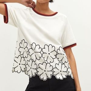Anthropologie Maeve Floral Embroidered Top SZ M